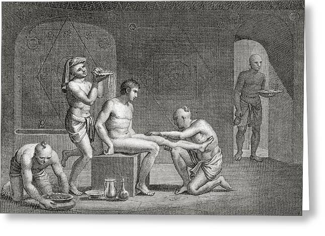 Inside An Egyptian Bathhouse, C.1820s Greeting Card by Dominique Vivant Denon