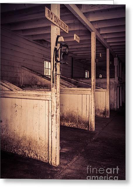Inside An Old Horse Barn Greeting Card by Edward Fielding