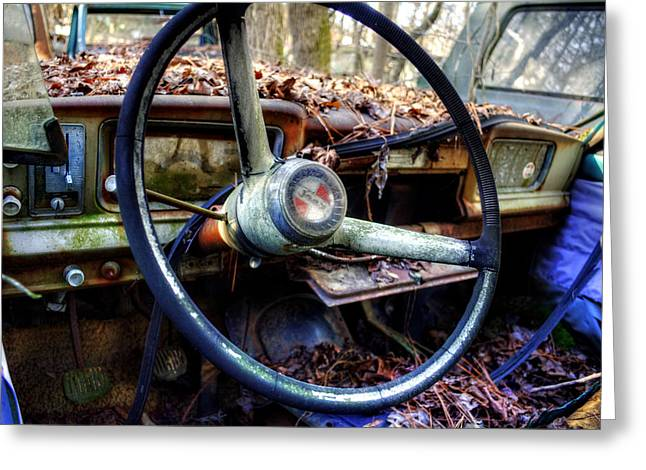 Inside An Old Jeep Greeting Card by Greg Mimbs