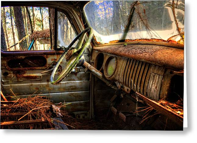 Inside An Old Truck Greeting Card by Greg Mimbs