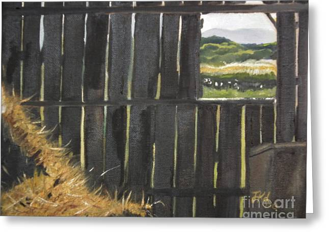 Barn -inside Looking Out - Summer Greeting Card by Jan Dappen