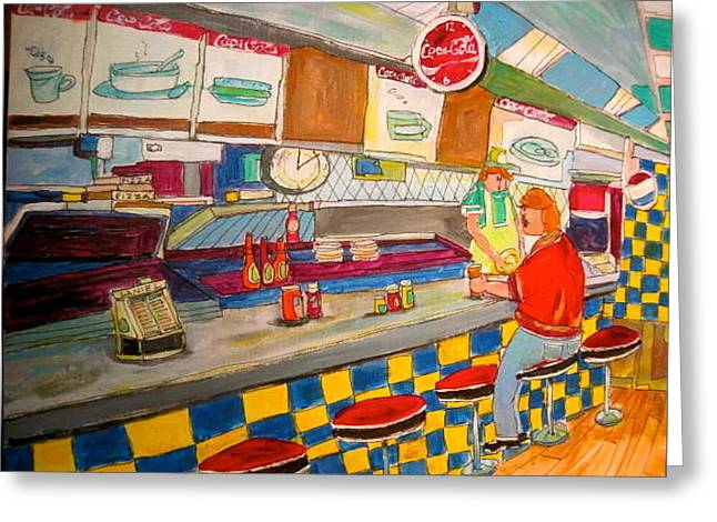 Inside Paul Patates Montreal Memories Greeting Card by Michael Litvack