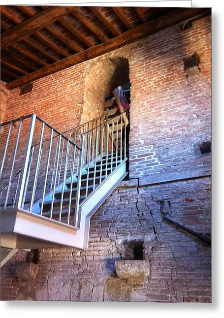 Inside Stairway Of Old Tower In Lucca Italy Greeting Card