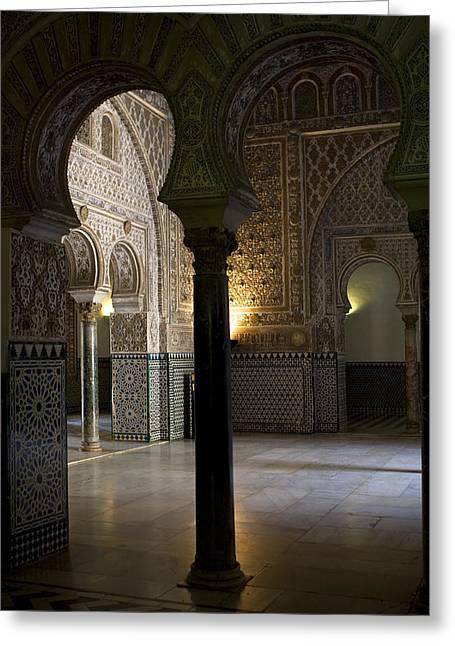 Inside The Alcazar Of Seville Greeting Card by Lorraine Devon Wilke