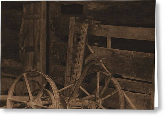 Inside The Barn In Sepia Greeting Card by Dan Sproul