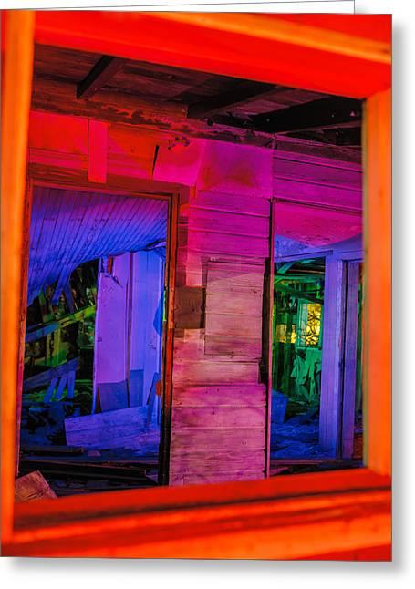 Inside The Big Orange Window Greeting Card