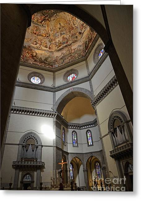 Inside The Duomo Of Florence Greeting Card by Sami Sarkis