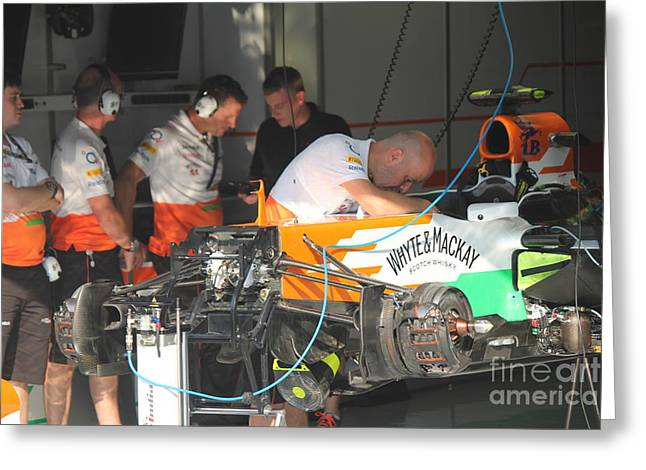 Inside The Force India Garage Greeting Card by David Grant