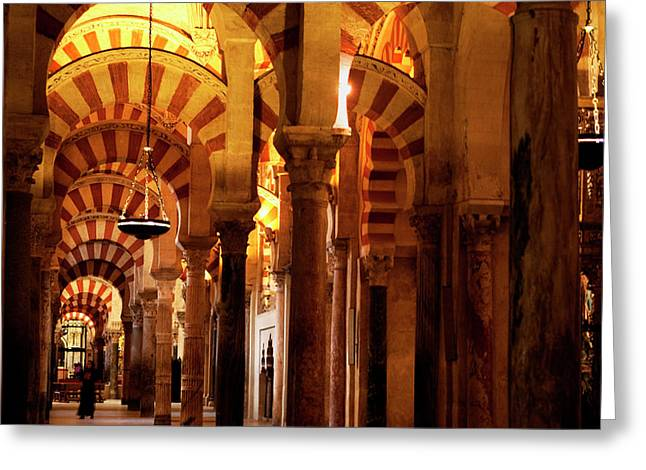 Greeting Card featuring the photograph Inside The Mezquita by Lorraine Devon Wilke