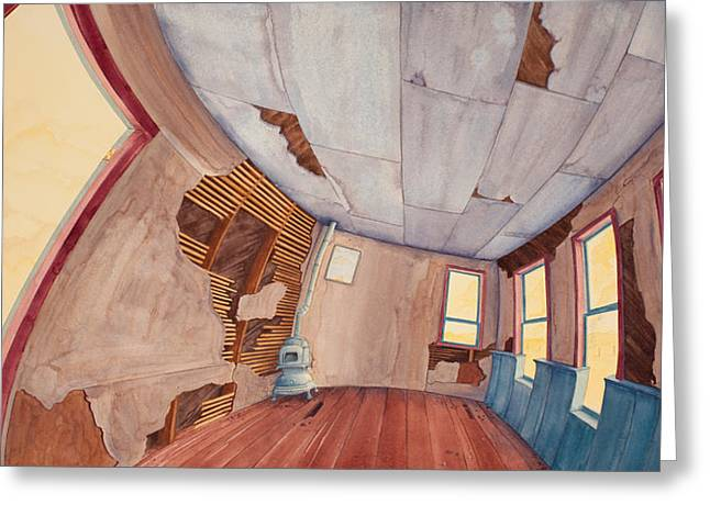 Greeting Card featuring the painting Inside The Old School House IIi by Scott Kirby