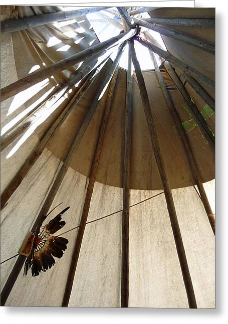Inside The Tipi Greeting Card by Marcia Socolik