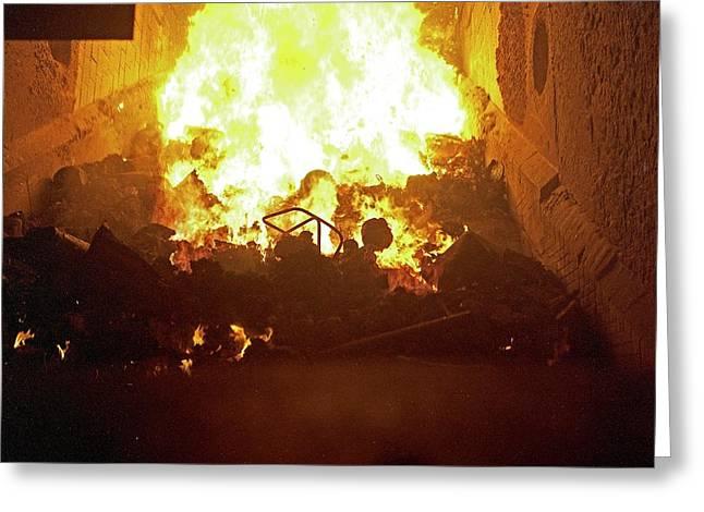 Inside Waste Incineration Kiln Greeting Card