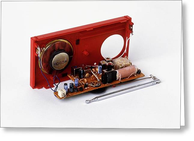 Insides Of A Portable Radio Greeting Card