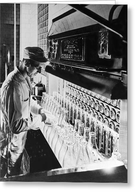 Inspecting Milk Bottles Greeting Card by Underwood Archives