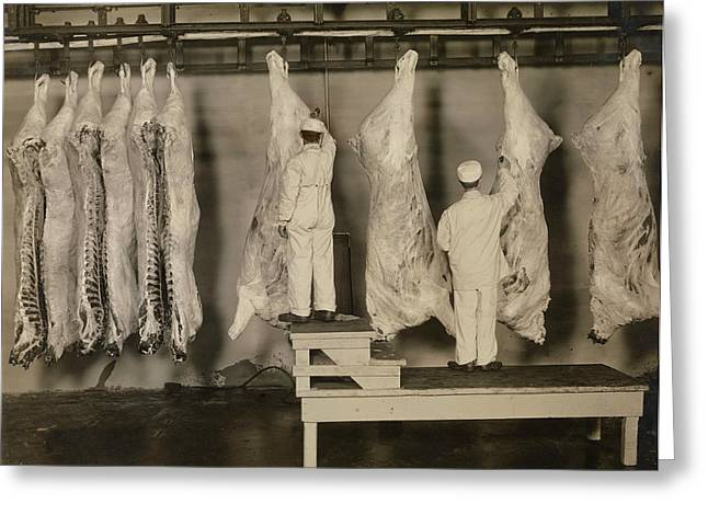 Inspection Of Animal Carcasses, 1910 Greeting Card by Stocktrek Images