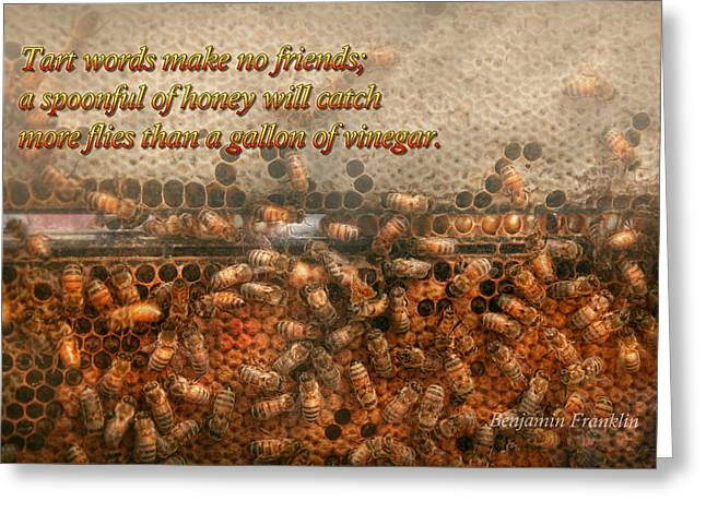 Inspiration - Apiary - Bee's - Sweet Success - Ben Franklin Greeting Card by Mike Savad