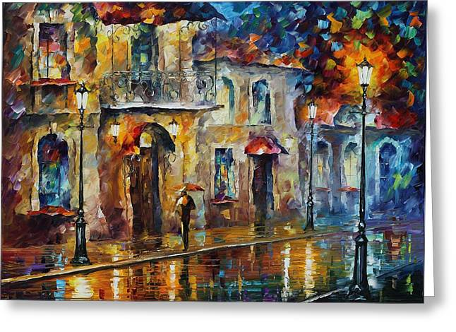 Inspiration Of Beauty - Palette Knife Oil Painting On Canvas By Leonid Afremov Greeting Card