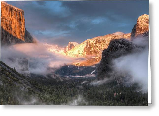 Inspiration Point, Tunnel View, Sunset Greeting Card