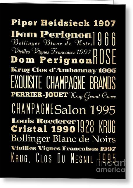 Inspirational Arts - Exquisite Champagne Brands Greeting Card by Joy House Studio