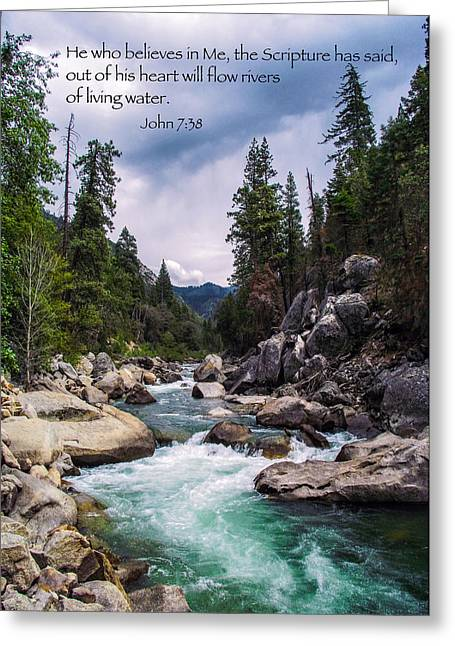 Inspirational Bible Scripture Emerald Flowing River Fine Art Original Photography Greeting Card