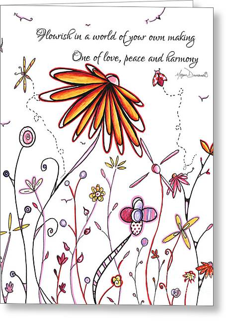 Inspirational Floral Ladybug Dragonfly Daisy Art With Uplifting Quote By Megan Duncanson Greeting Card by Megan Duncanson