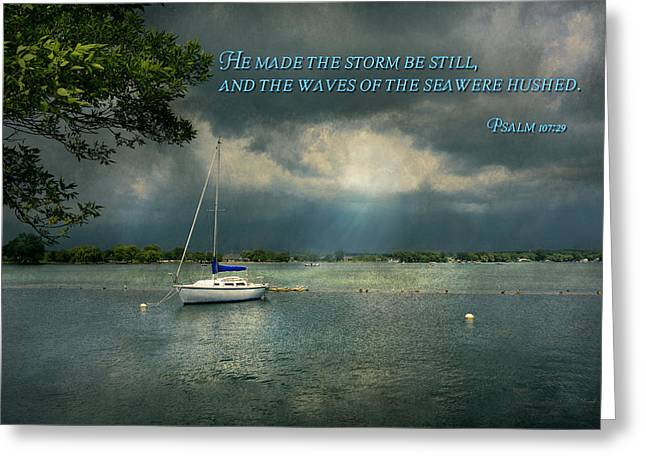 Inspirational - Hope - Sailor - Psalm 107-29 Greeting Card
