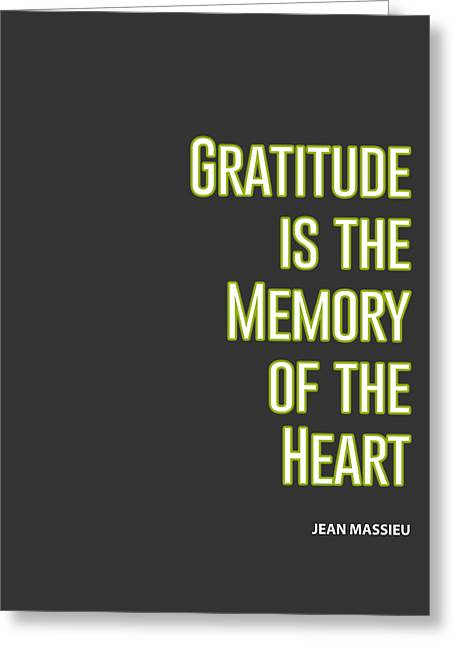 Inspirational Print Gratitude Is The Memory Of The Heart Printable Art Typography Quote Home Decor M Greeting Card