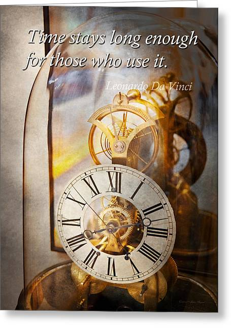 Inspirational - Time - A Look Back In Time - Da Vinci Greeting Card by Mike Savad
