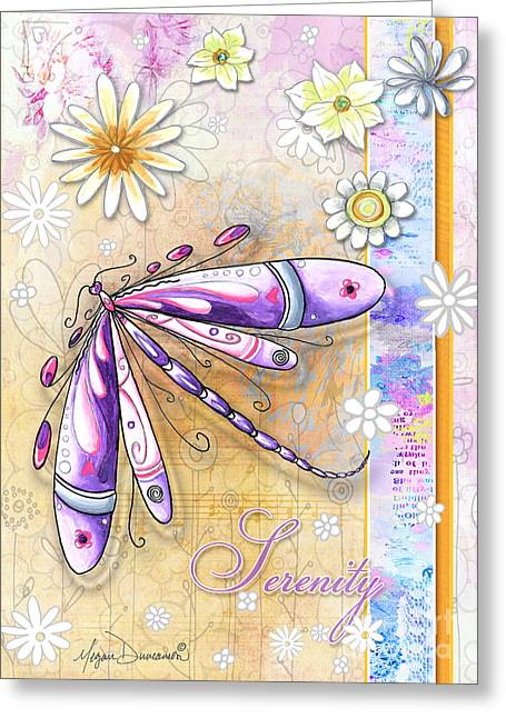 Inspirational Uplifting Dragonfly Art Flowers Serenity By Megan Duncanson Greeting Card by Megan Duncanson