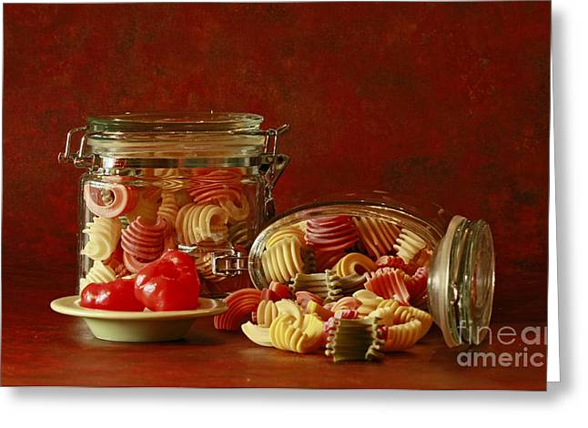 Inspired By Pasta Greeting Card by Inspired Nature Photography Fine Art Photography