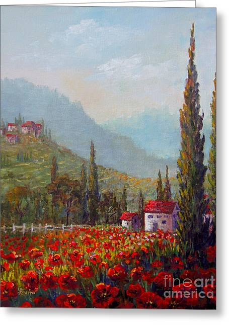 Inspired By Tuscany Greeting Card by Lou Ann Bagnall
