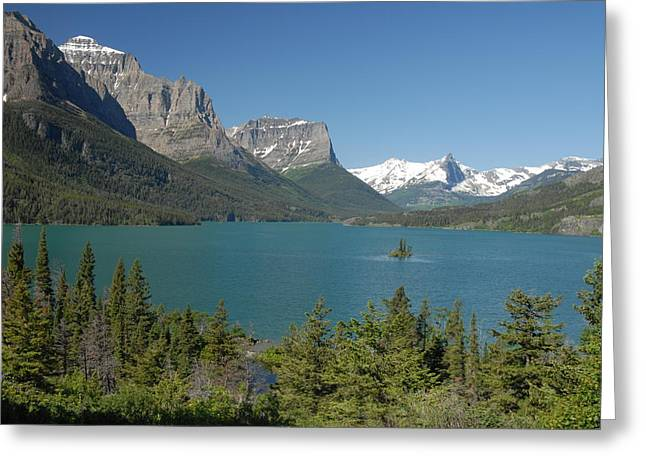 Inspiring View Of Glacier National Park Greeting Card by Larry Moloney