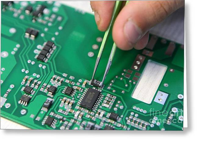 Installing Component On Circuit Board Greeting Card by Ria Novosti