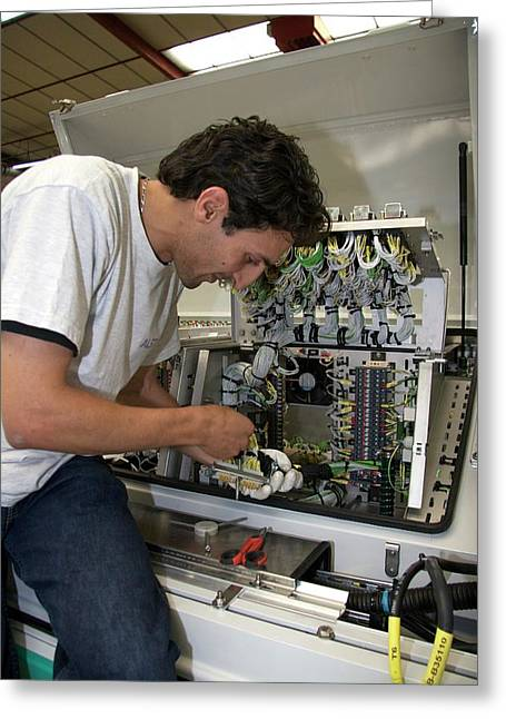 Installing Electric Circuits For A Tram Greeting Card