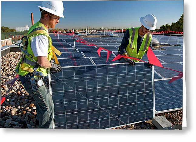 Installing Solar Panels Greeting Card by Jim West