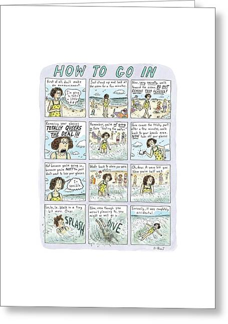 Instructions For Getting Into The Ocean Greeting Card by Roz Chast