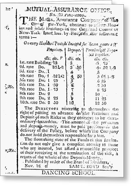 Insurance Company, 1801 Greeting Card