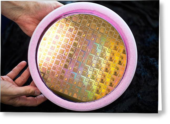 Greeting Card featuring the photograph Integrated Circuits On Silicon Wafer by Science Source
