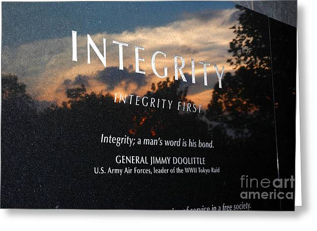 Integrity A Mans Word Is His Bond Greeting Card by James Brunker