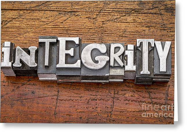 Integrity Word In Metal Type Greeting Card