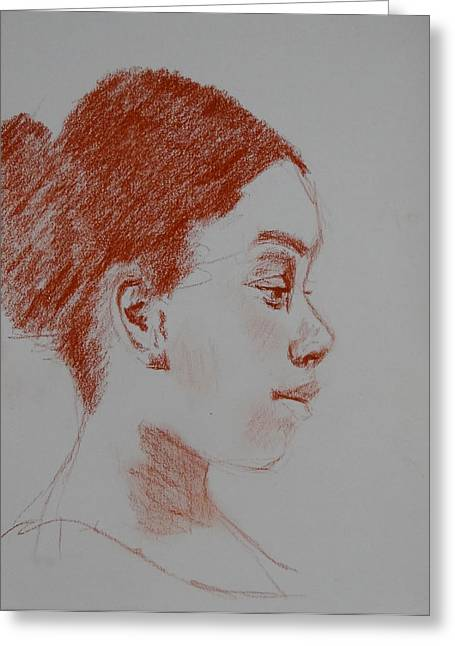 Intent Conte Sketch Greeting Card by Carol Berning