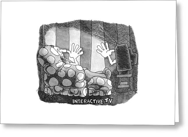 Interactive Tv Greeting Card by Gahan Wilson