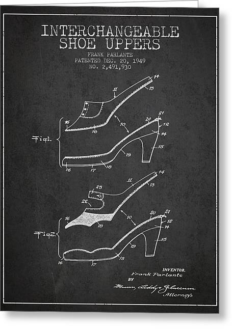 Interchangeable Shoe Uppers Patent From 1949 - Charcoal Greeting Card by Aged Pixel