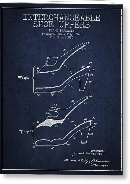 Interchangeable Shoe Uppers Patent From 1949 - Navy Blue Greeting Card by Aged Pixel