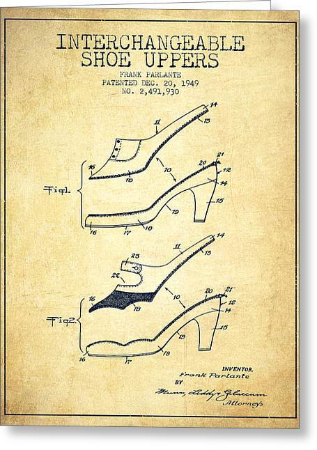Interchangeable Shoe Uppers Patent From 1949 - Vintage  Greeting Card by Aged Pixel
