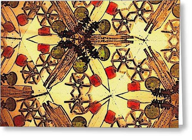 Interconnected Stars Inside A Kaleidosope Greeting Card by Sandra Pena de Ortiz