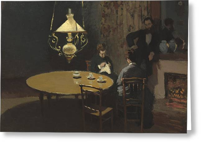 Interior After Dinner Greeting Card by Claude Monet
