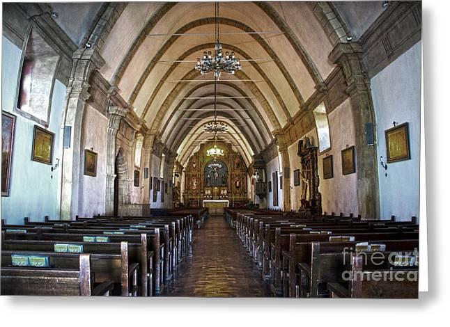 Interior Basilica Carmel Mission Greeting Card by RicardMN Photography