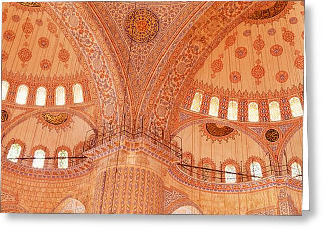 Interior, Blue Mosque, Istanbul, Turkey Greeting Card by Panoramic Images