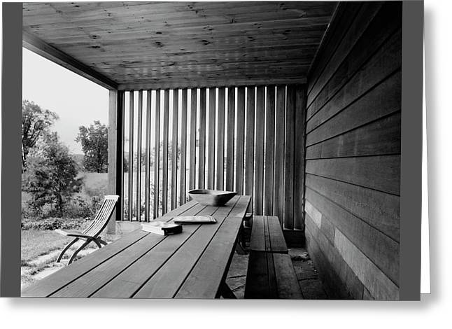 Interior End Of Porch With Vertical Louvers Greeting Card by P.A. Dearborn
